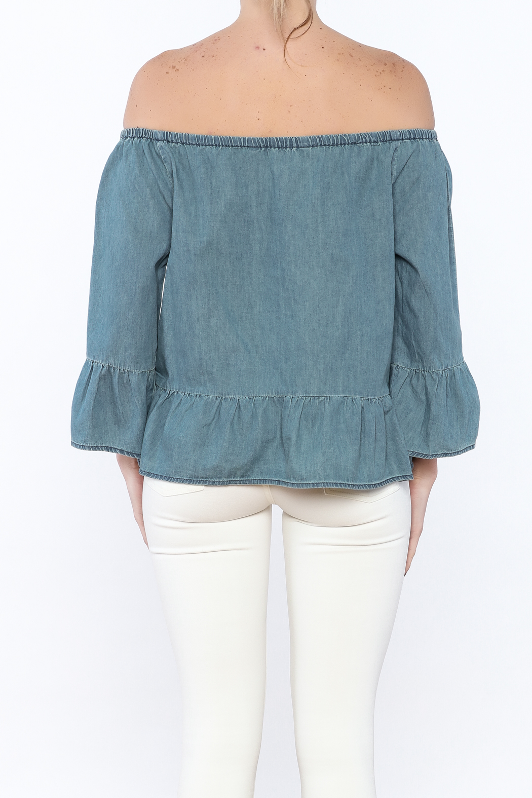 Cupcakes & Cashmere Off-Shoulder Chambray Blouse - Back Cropped Image