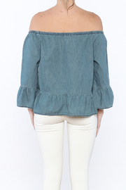 Cupcakes & Cashmere Off-Shoulder Chambray Blouse - Back cropped
