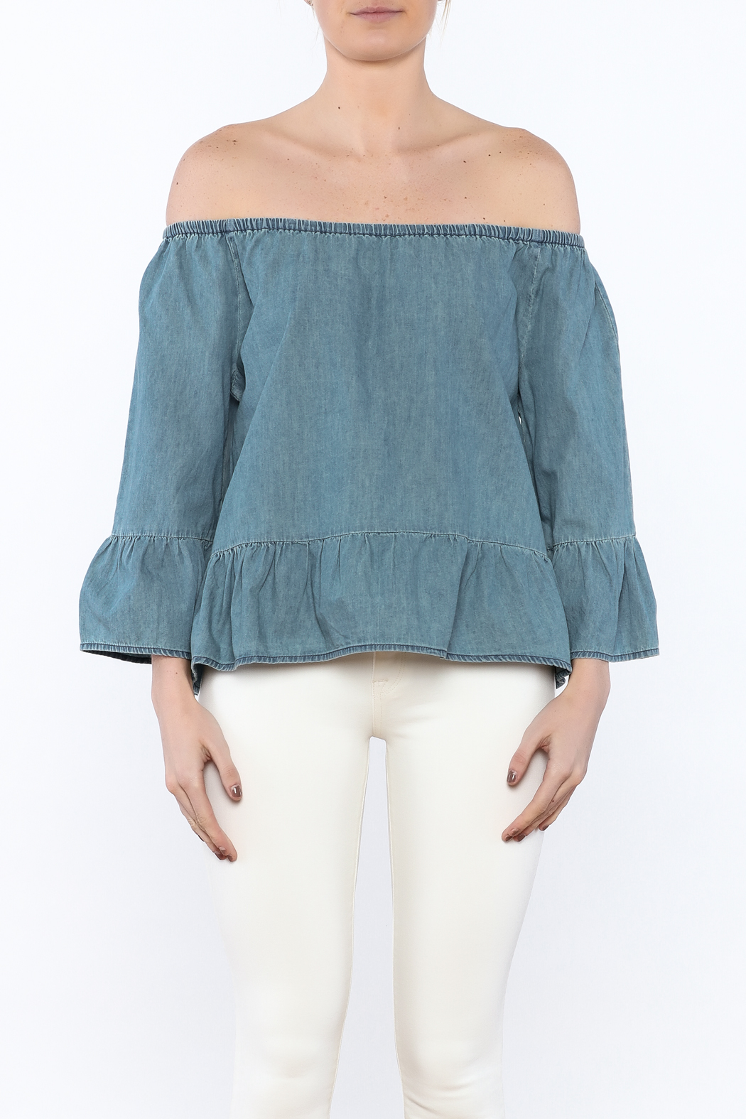 Cupcakes & Cashmere Off-Shoulder Chambray Blouse - Side Cropped Image