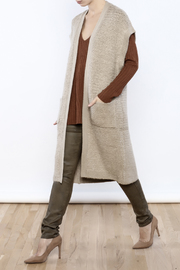 Cupcakes & Cashmere Sand Textured Weave Long Vest - Product Mini Image