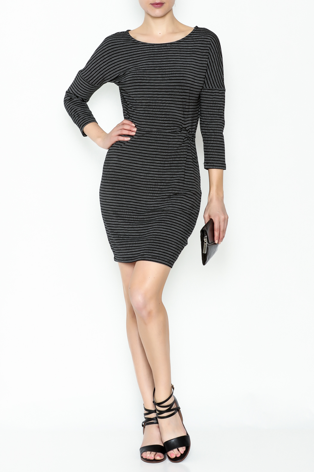 Cupcakes and Cashmere Waist Flattering Stripe Dress - Side Cropped Image