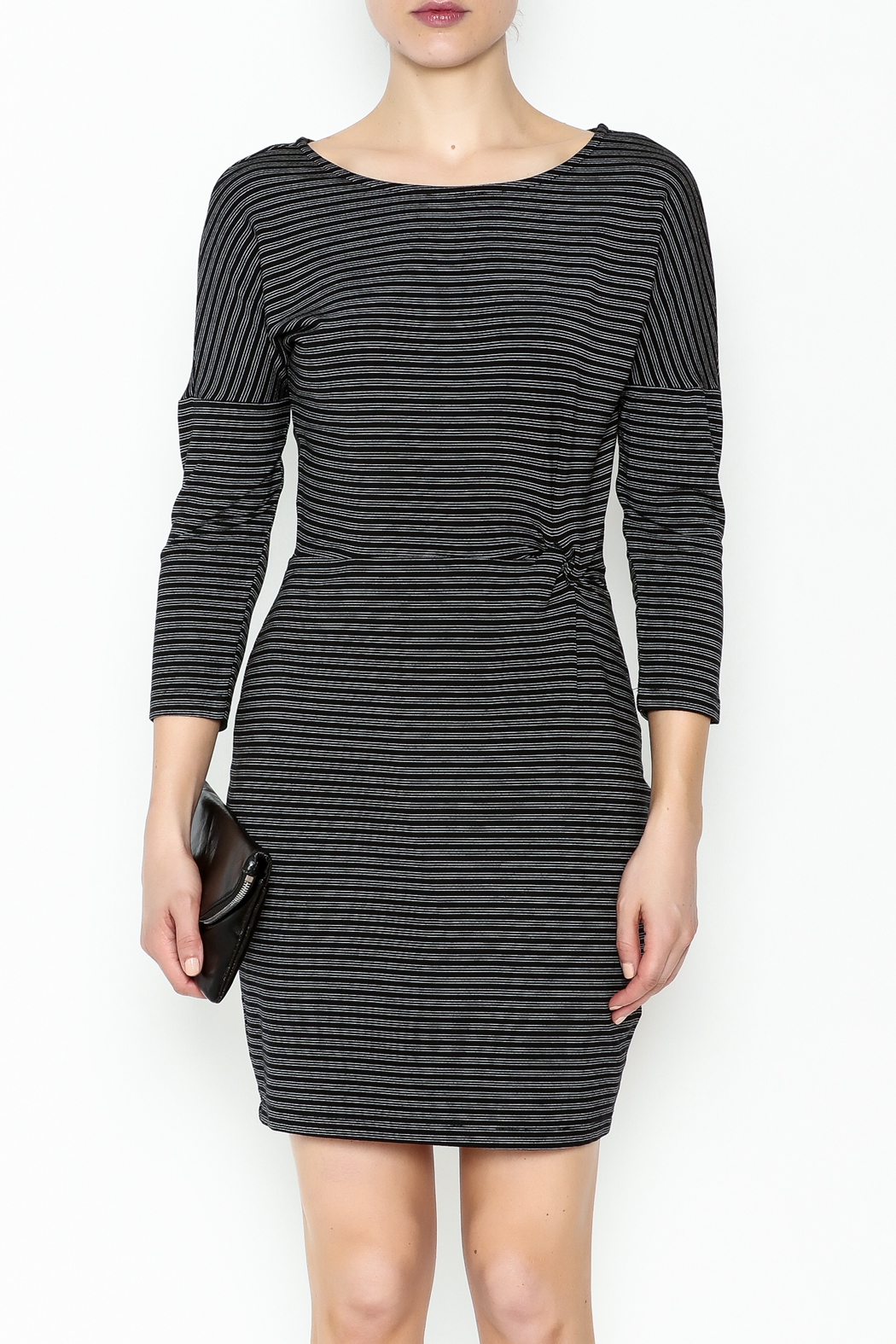 Cupcakes and Cashmere Waist Flattering Stripe Dress - Front Full Image