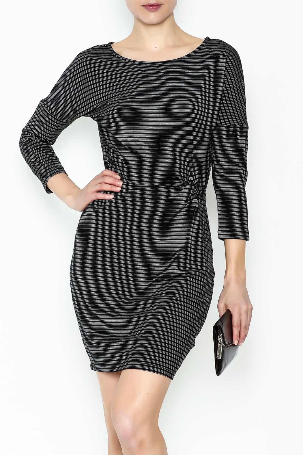 Cupcakes and Cashmere Waist Flattering Stripe Dress - Main Image