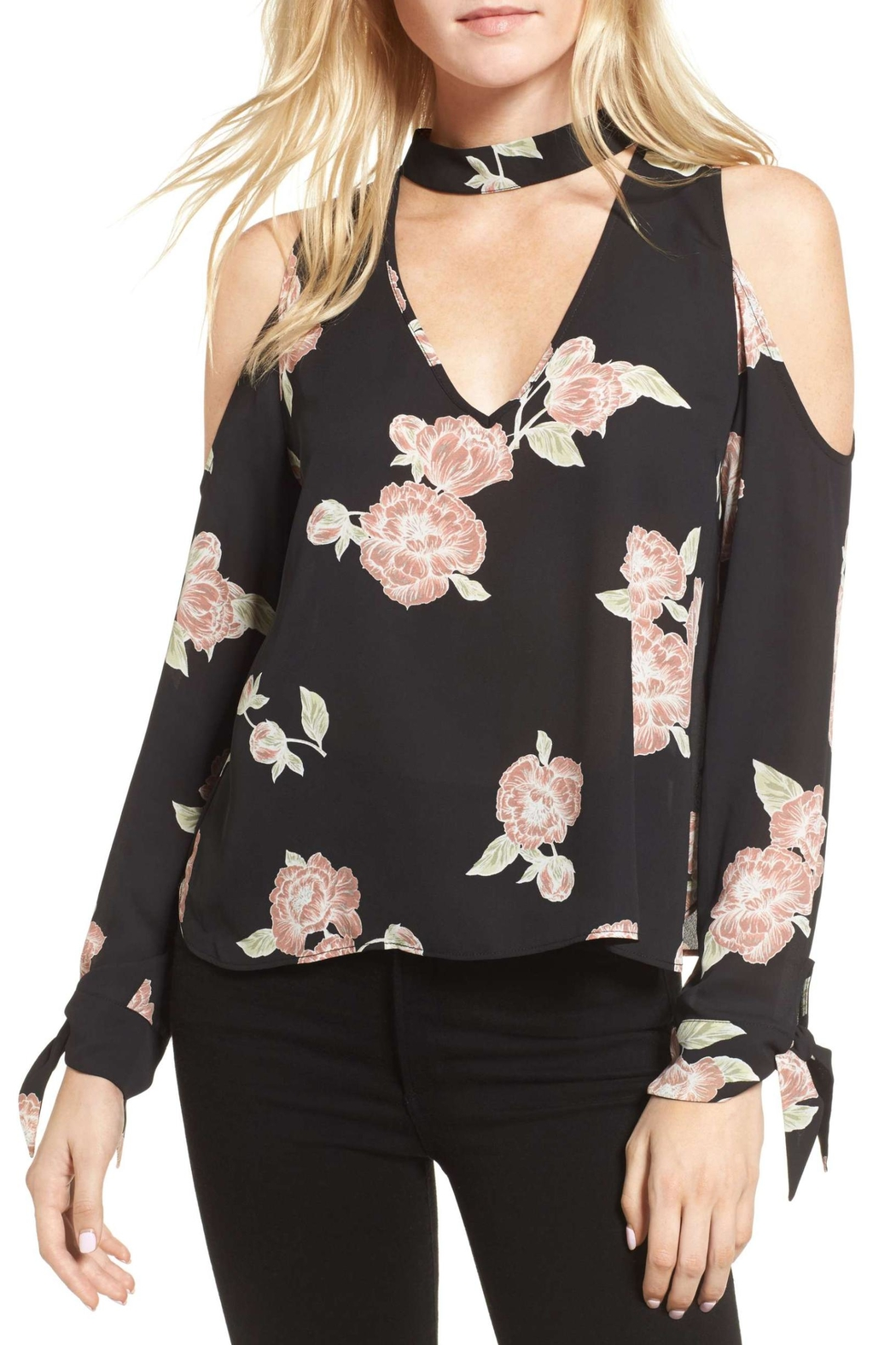 Cupcakes & Cashmere Floral Cold Shoulder Top - Main Image