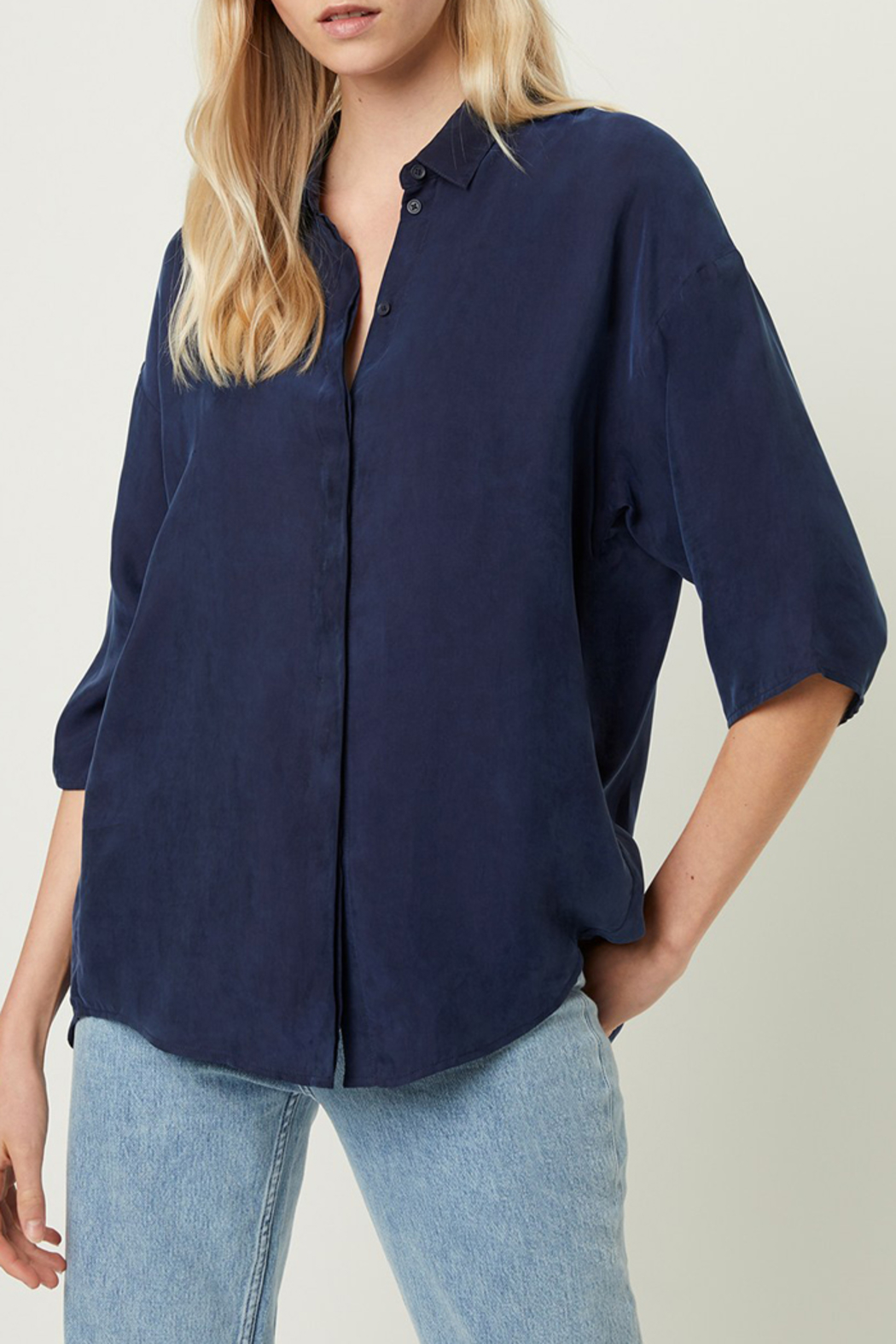 French Connection CUPRO BUTTON DOWN TOP - Front Full Image