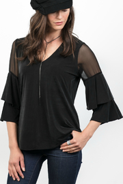 Lola & Sophie Cupro/Mesh Vneck Top w Ruffle Slv - Product Mini Image