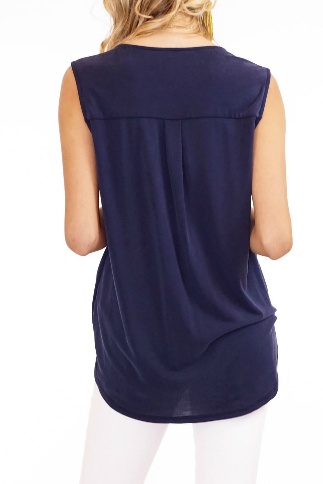 Veronica M Cupro Sleeveless Surplice Top - Side Cropped Image