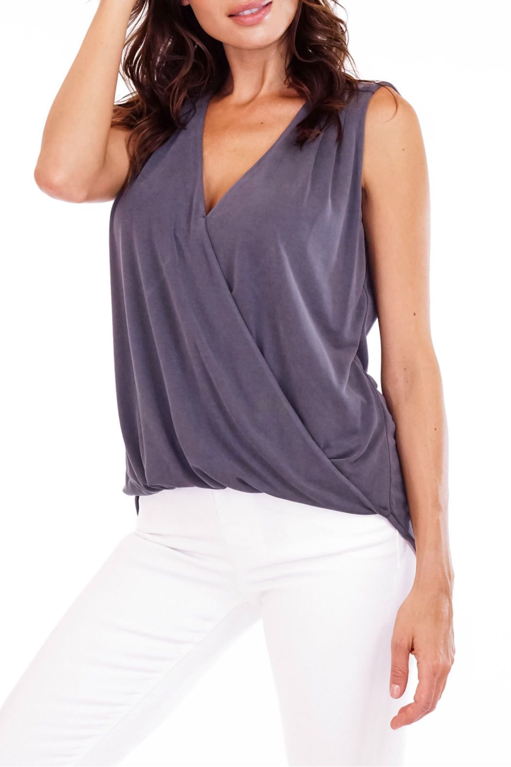 Veronica M Cupro Sleeveless Surplice Top - Front Cropped Image