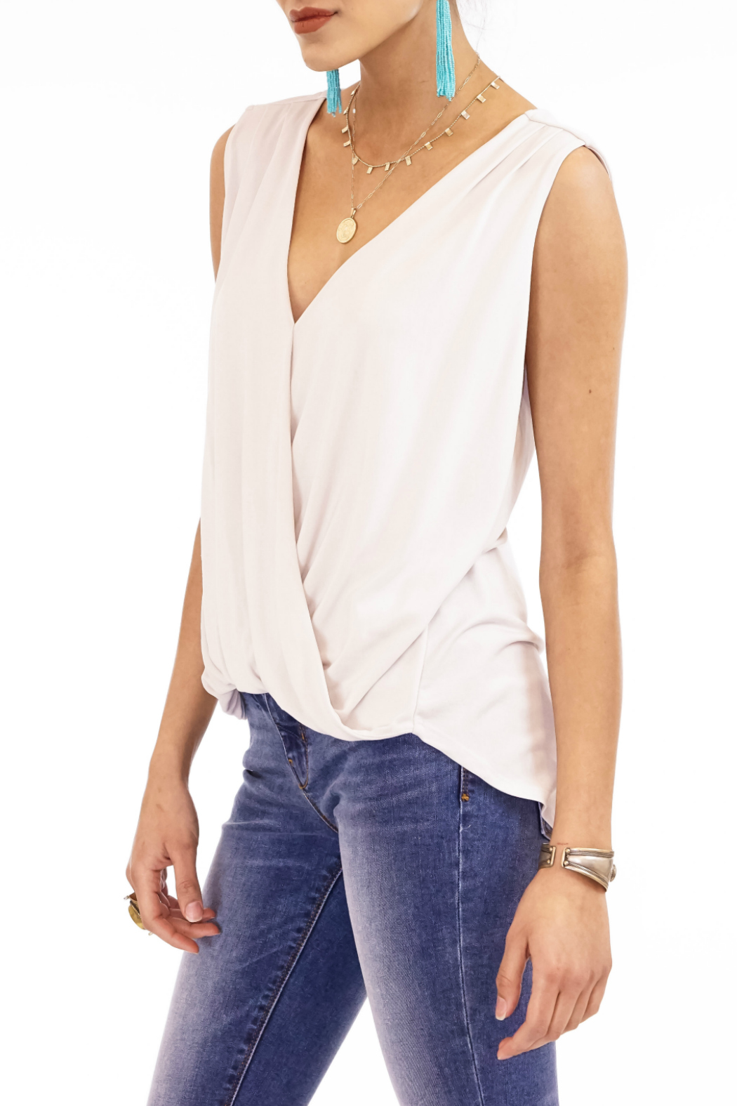 Veronica M Cupro Sleeveless Surplice Top - Front Full Image