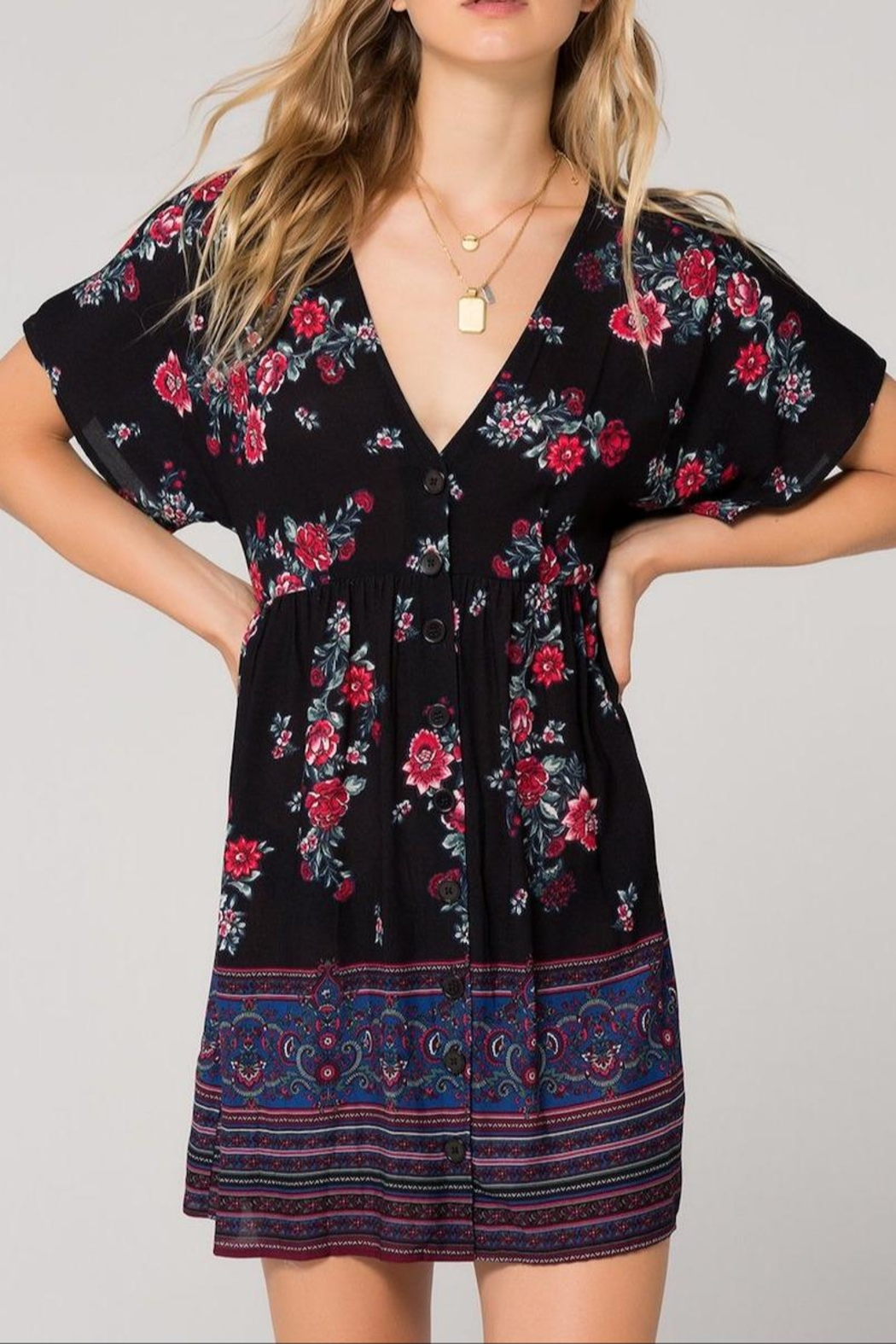 Band Of Gypsies Curacao Floral Dress - Main Image