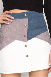 She + Sky Curduroy Color Block Mini Skirt - Front cropped