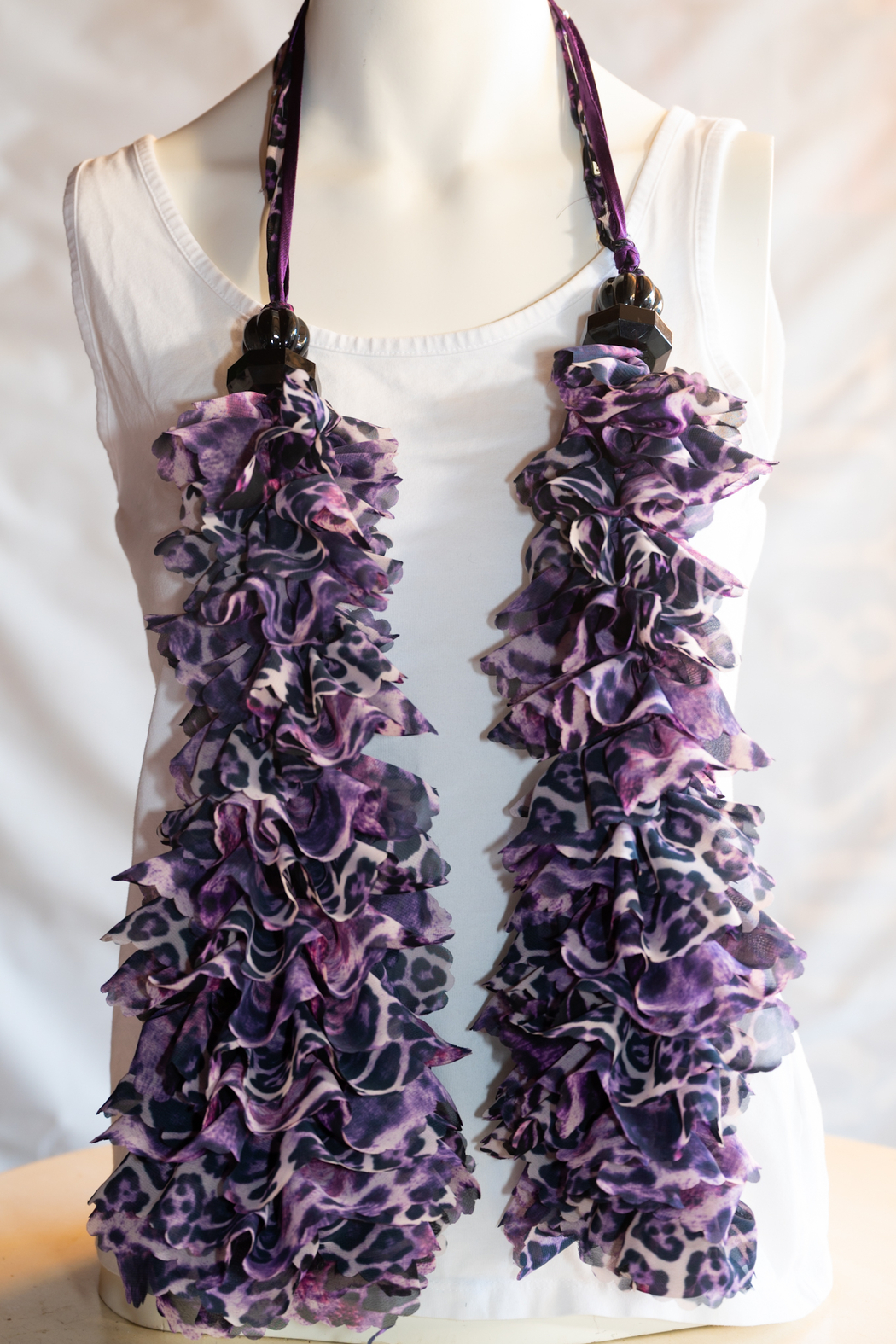 Handmade by CA artist Curly Chiffon Scarf - Hand-Knit - Side Cropped Image