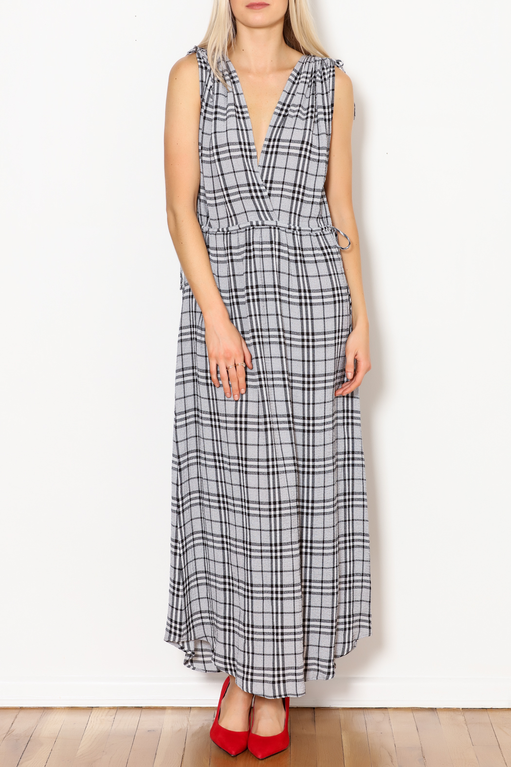 Current Air Black Plaid Maxi - Front Cropped Image