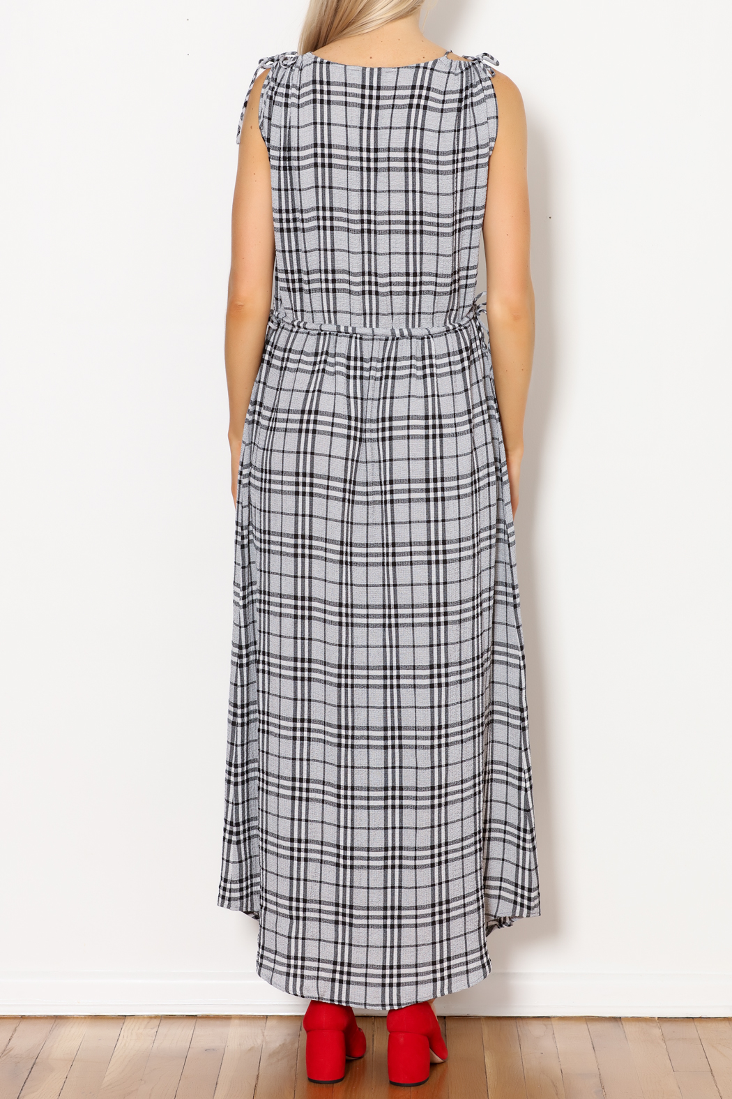 Current Air Black Plaid Maxi - Back Cropped Image