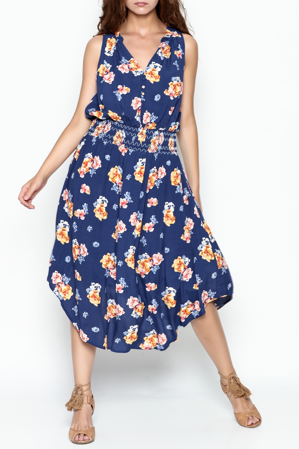 Current Air Bright Floral Dress - Front Cropped Image