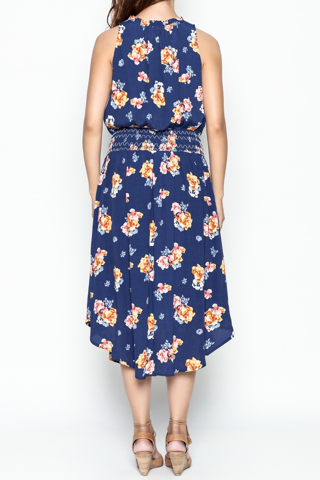 Current Air Bright Floral Dress - Back Cropped Image