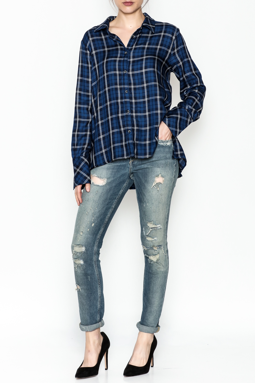 Current Air Plaid Button Down Shirt - Side Cropped Image