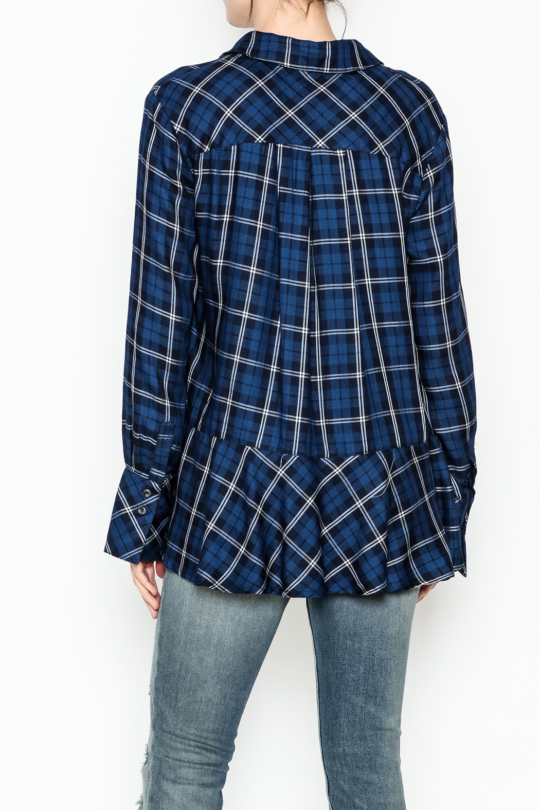 Current Air Plaid Button Down Shirt - Back Cropped Image