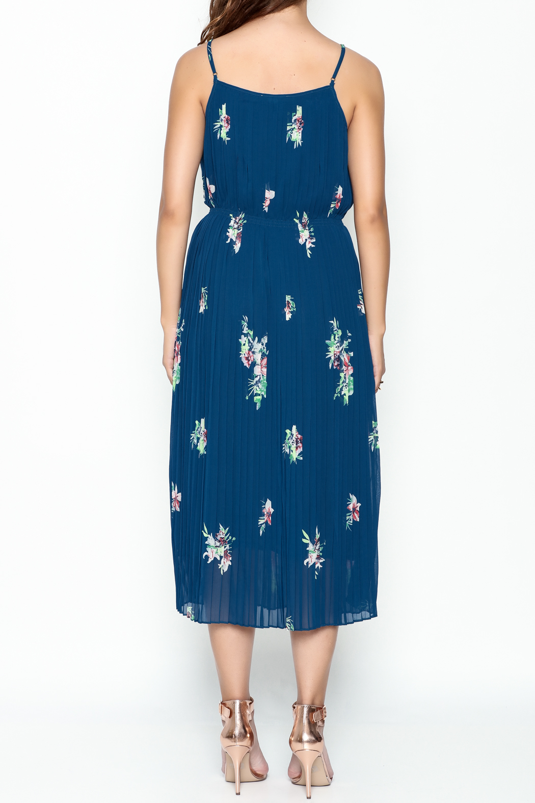 Current Air Pleated Cami Dress - Back Cropped Image