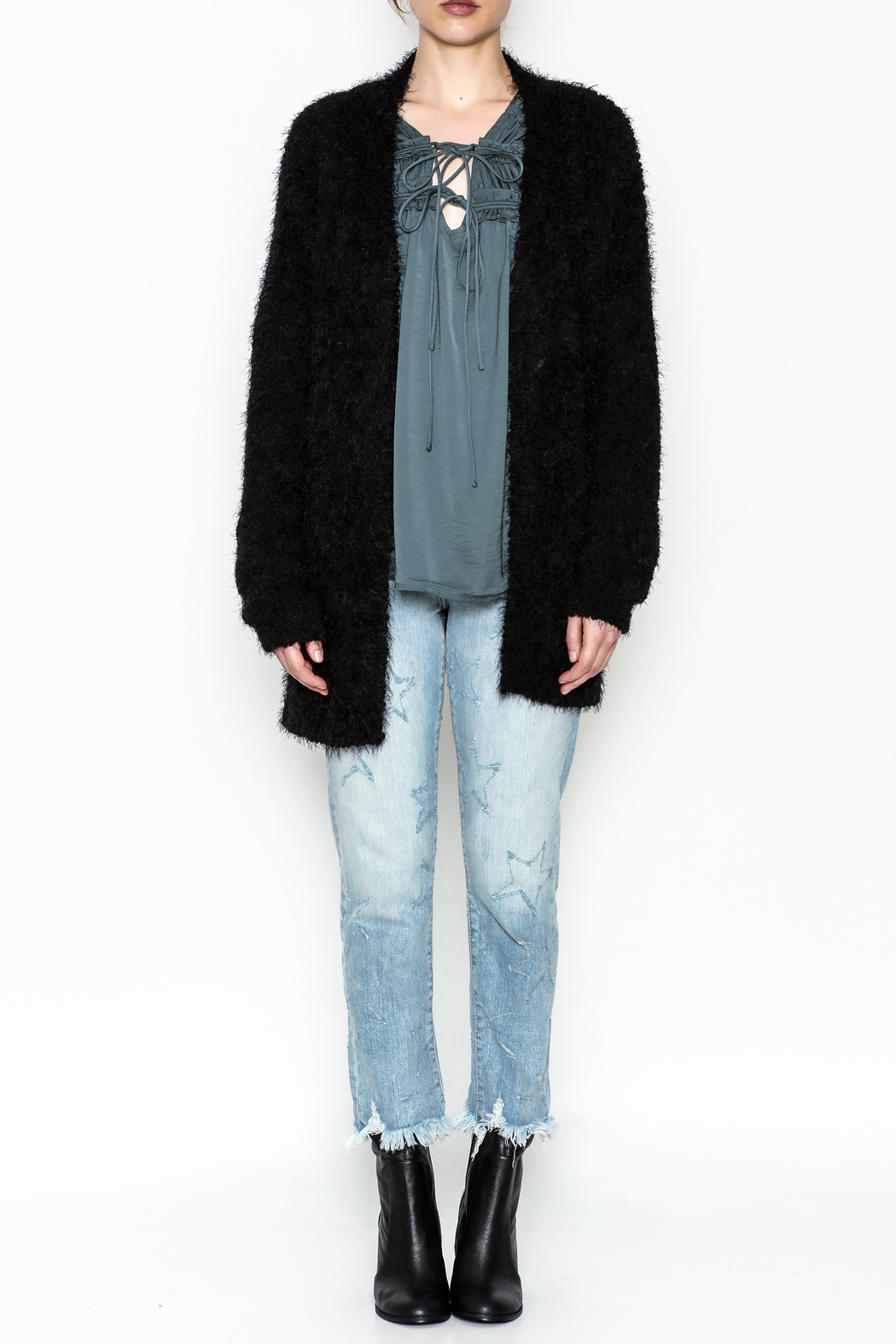 Current Air Sara Furry Cardi - Side Cropped Image