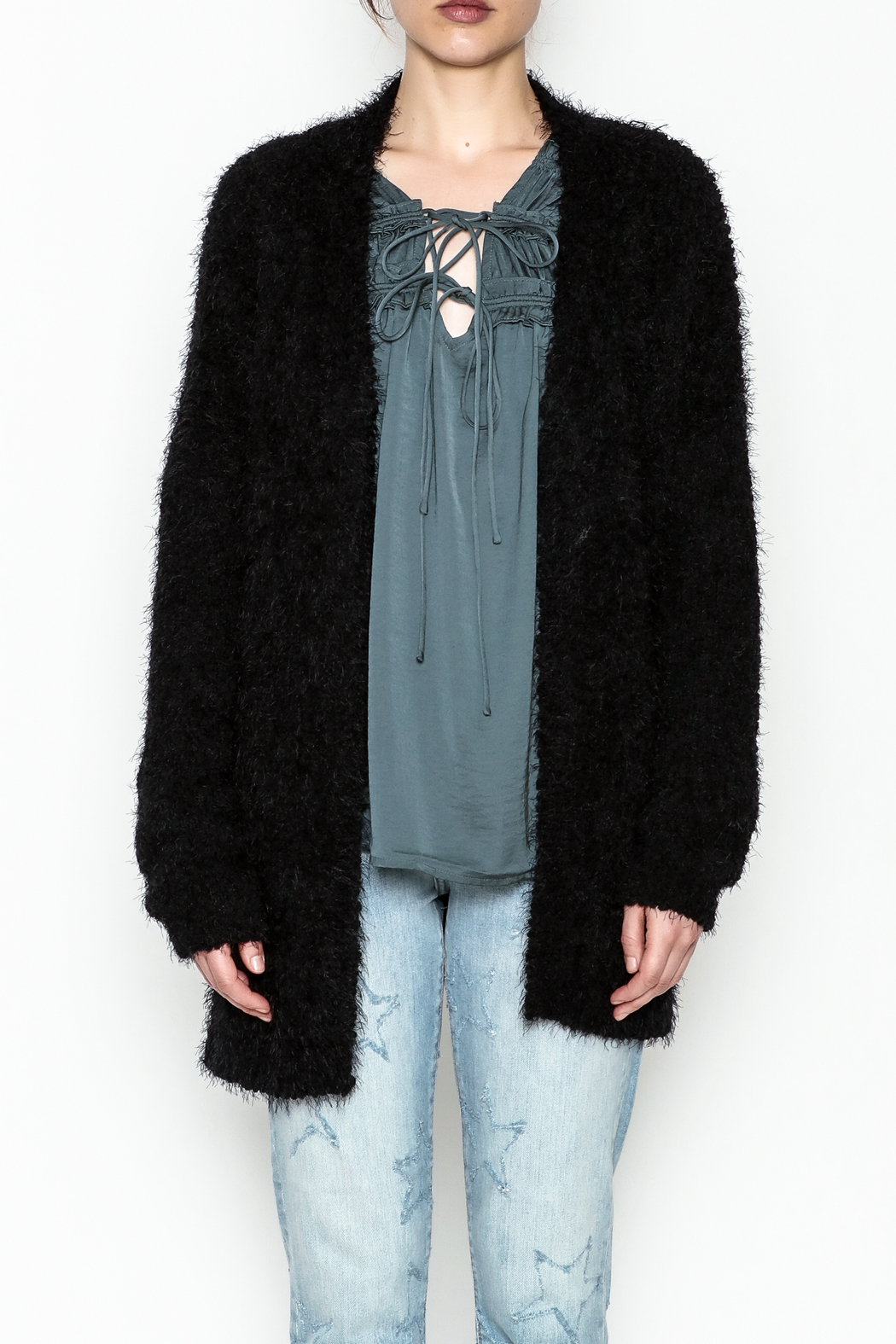 Current Air Sara Furry Cardi - Front Cropped Image