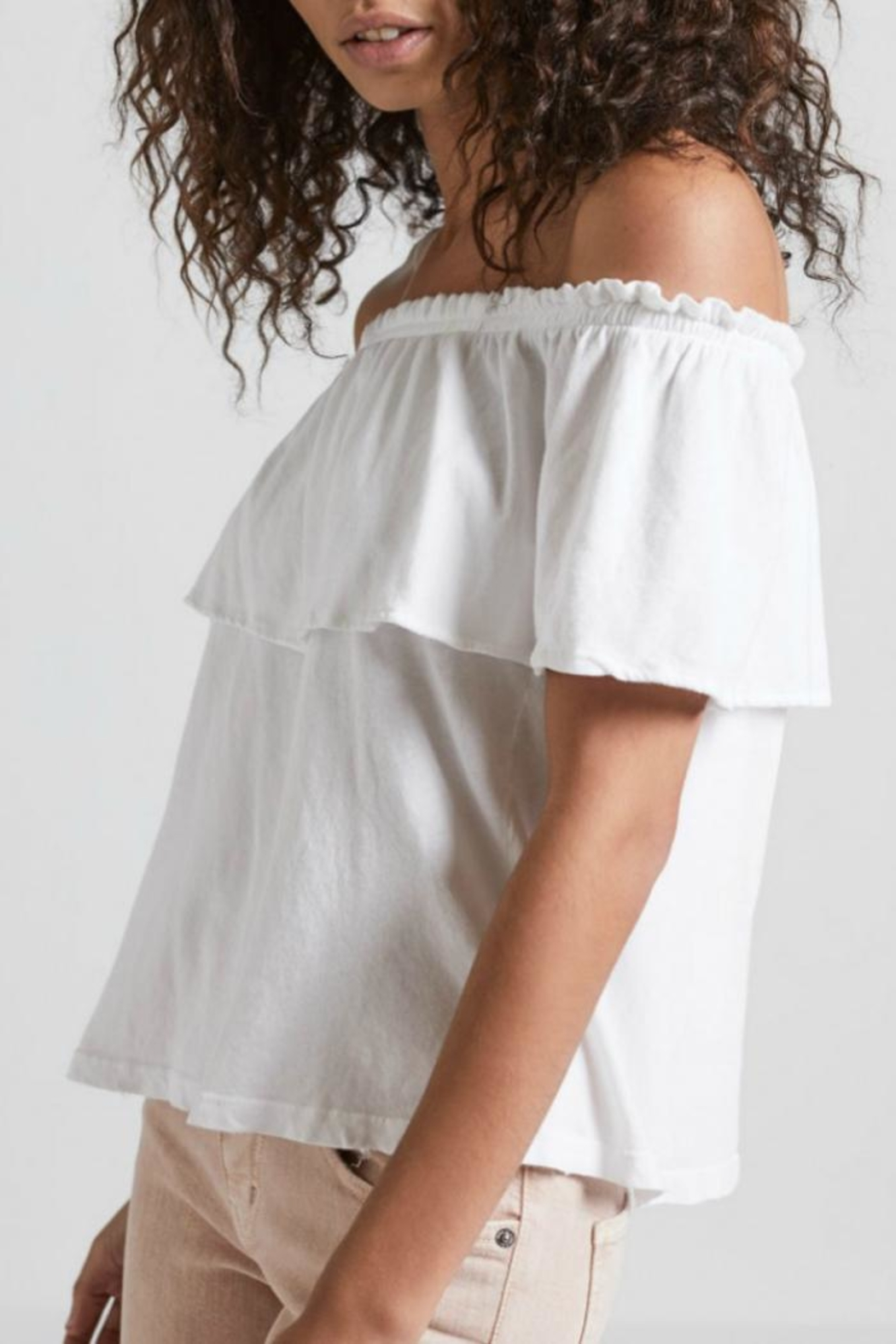 Current Elliott White Ruffle Top - Side Cropped Image