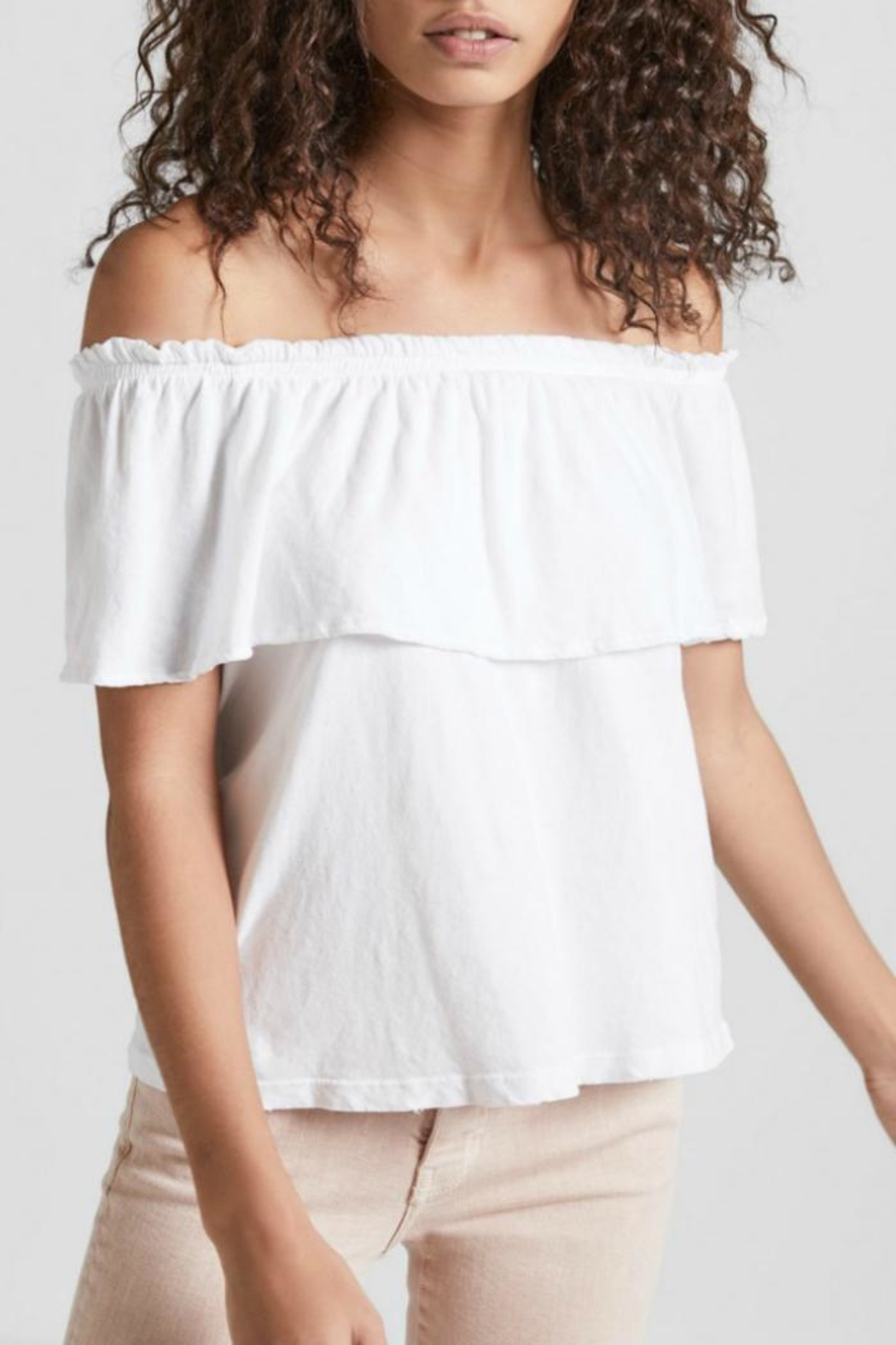 Current Elliott White Ruffle Top - Front Cropped Image