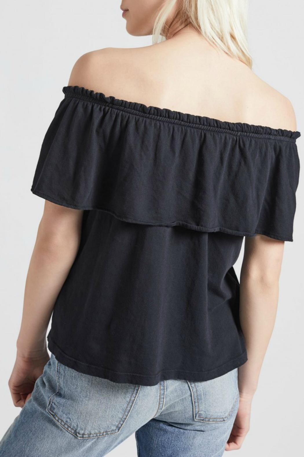 Current Elliott Ruffle Top Washed Black - Front Full Image