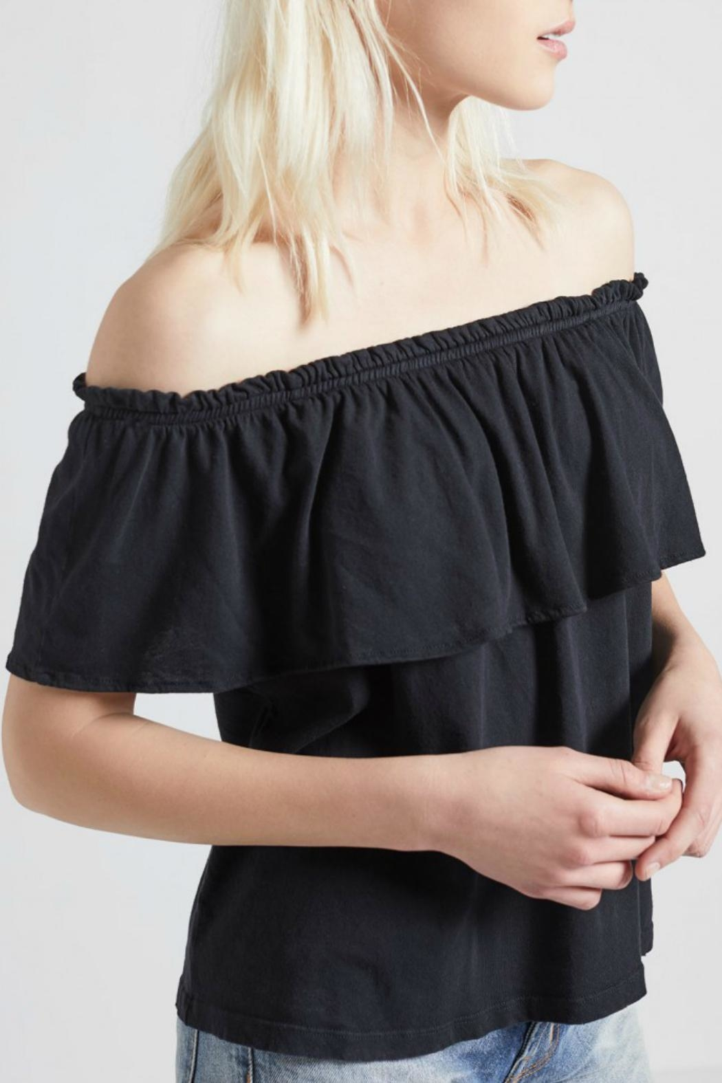 Current Elliott Ruffle Top Washed Black - Side Cropped Image