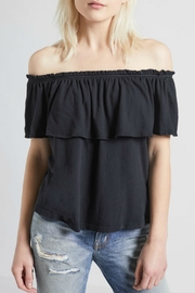 Current Elliott Ruffle Top Washed Black - Front cropped