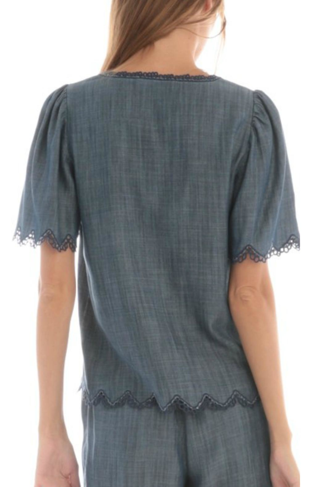 Current Air Chambray Flutter Top - Front Full Image