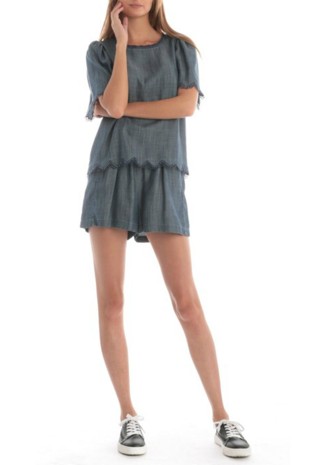 Current Air Chambray Flutter Top - Back Cropped Image