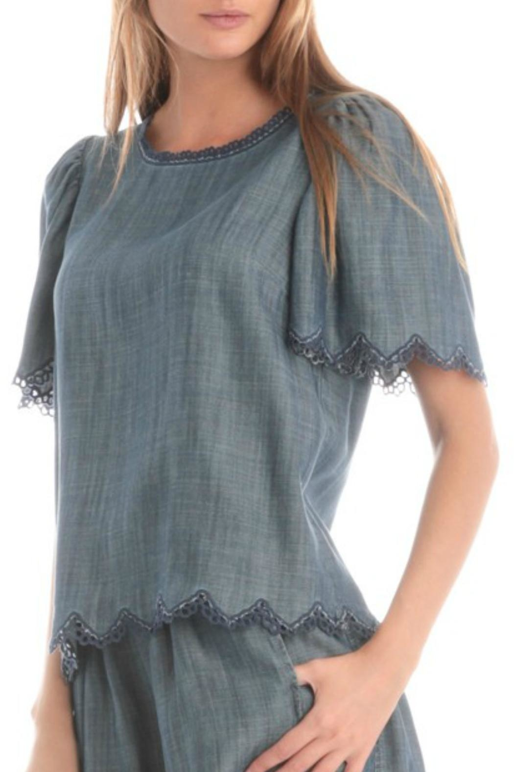 Current Air Chambray Flutter Top - Main Image