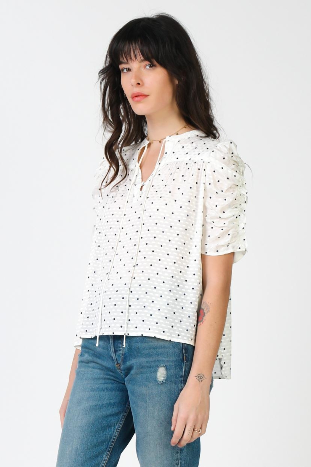 Current Air Ruffled Sleeve Top - Front Full Image