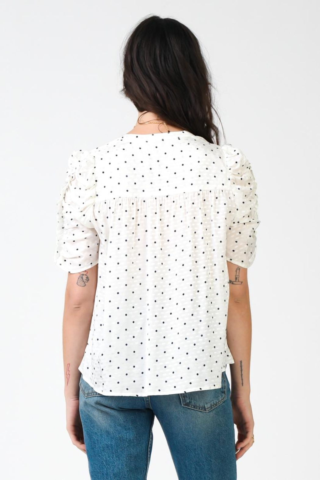 Current Air Ruffled Sleeve Top - Side Cropped Image