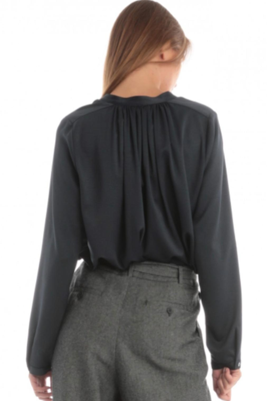 Current Air V-Neck Shirring Blouse - Front Full Image