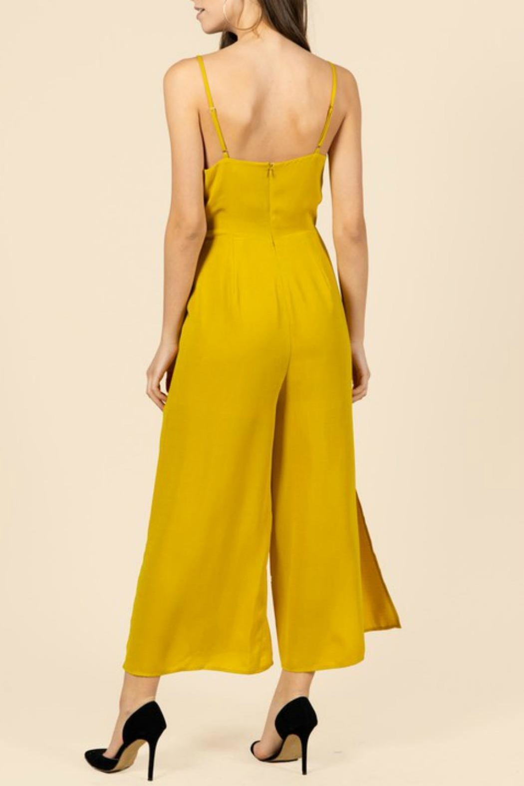 Pretty Little Things Curry Yellow Jumpsuit - Front Full Image
