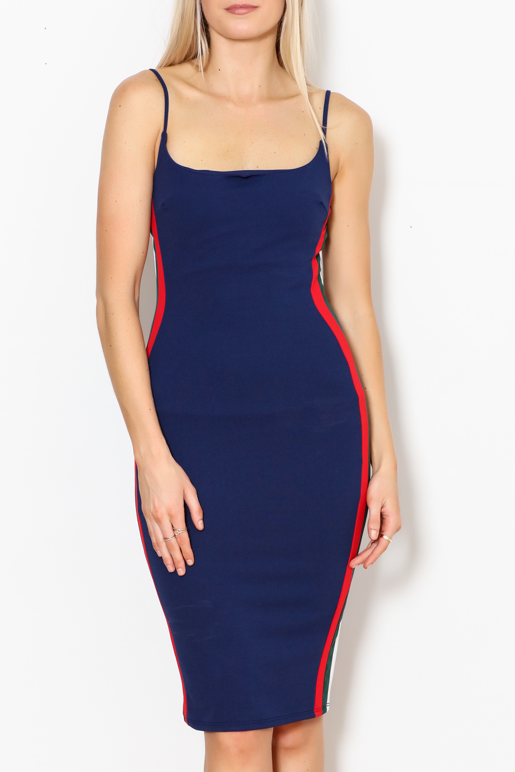 Curve Bodycon Stripe Dress - Front Full Image