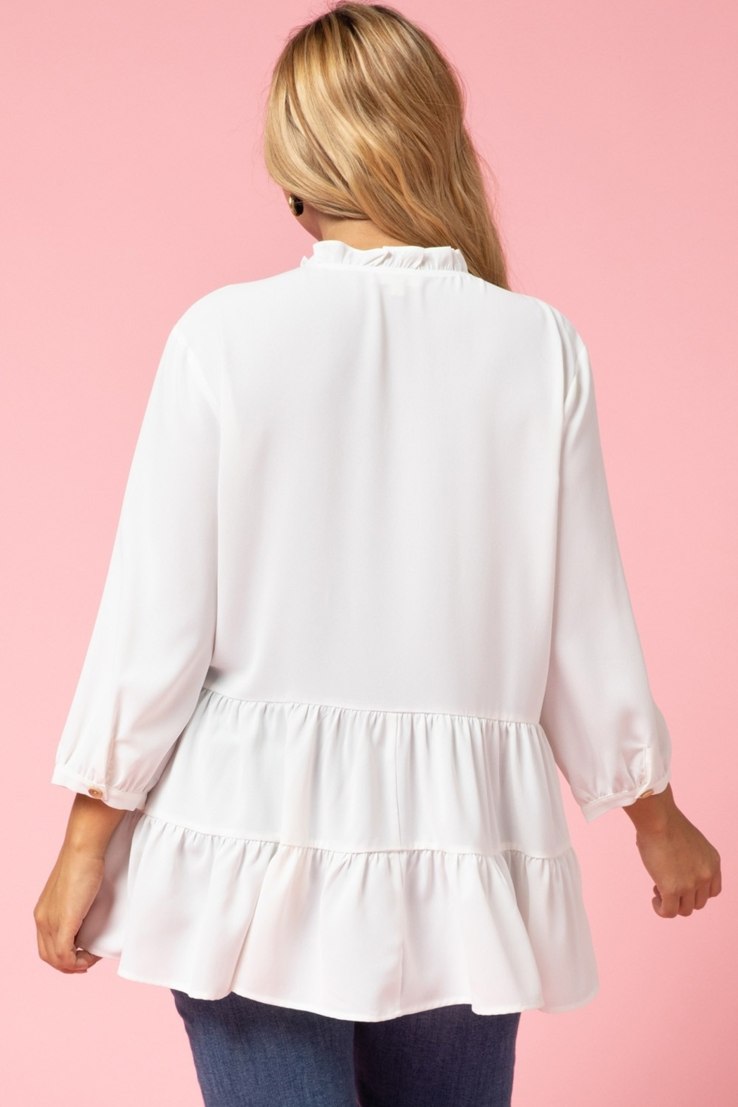 entro  Curvy Button Up Tiered Top - Back Cropped Image