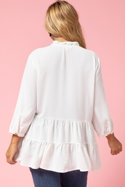 entro  Curvy Button Up Tiered Top - Back cropped