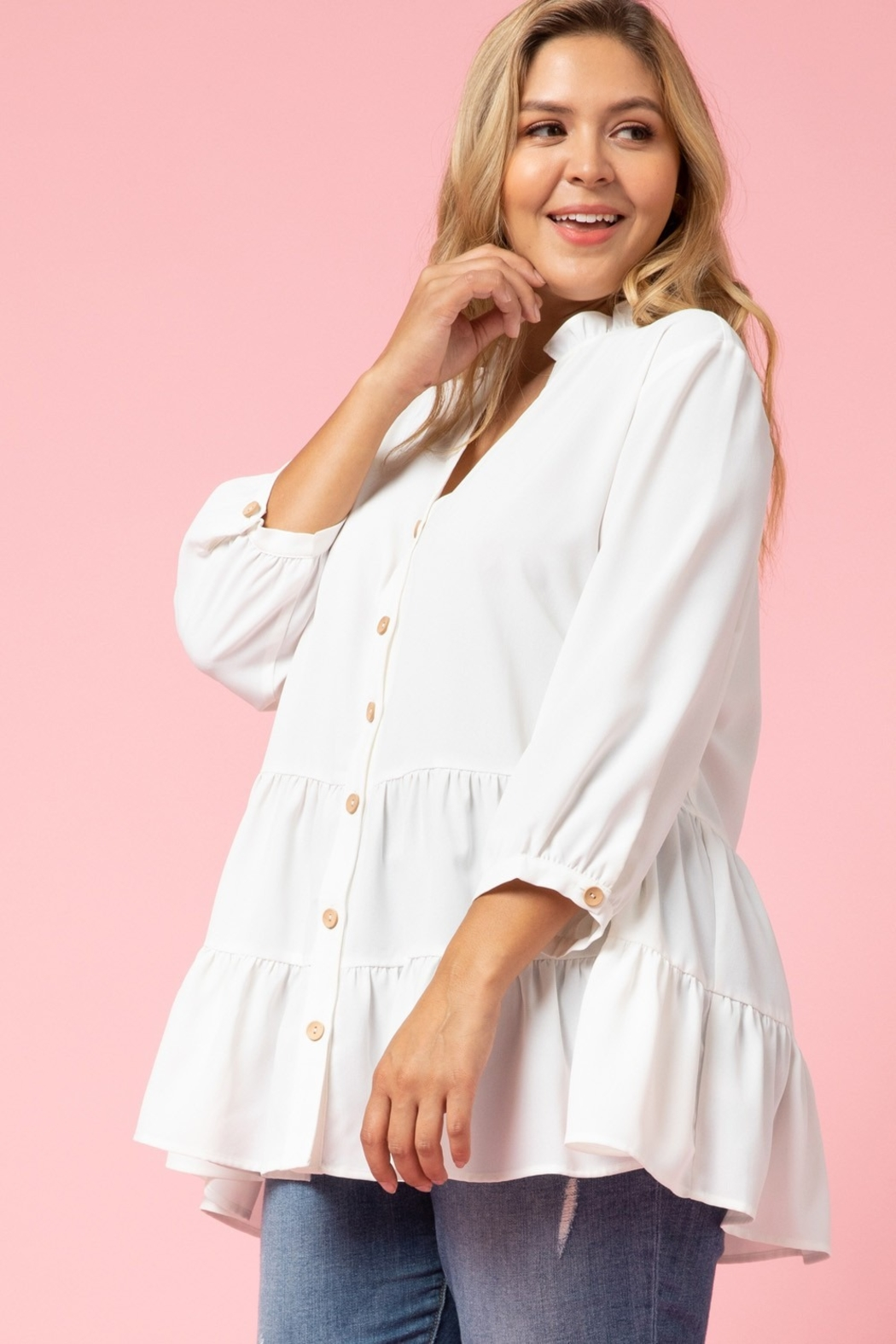 entro  Curvy Button Up Tiered Top - Side Cropped Image