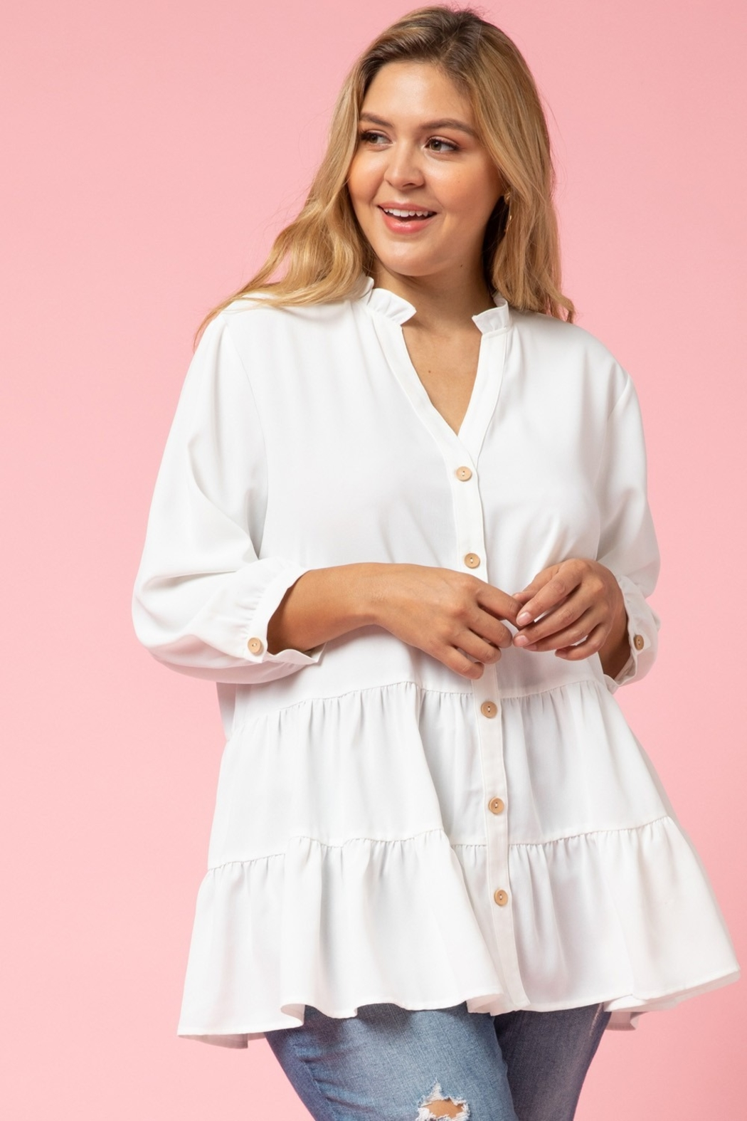 entro  Curvy Button Up Tiered Top - Front Full Image