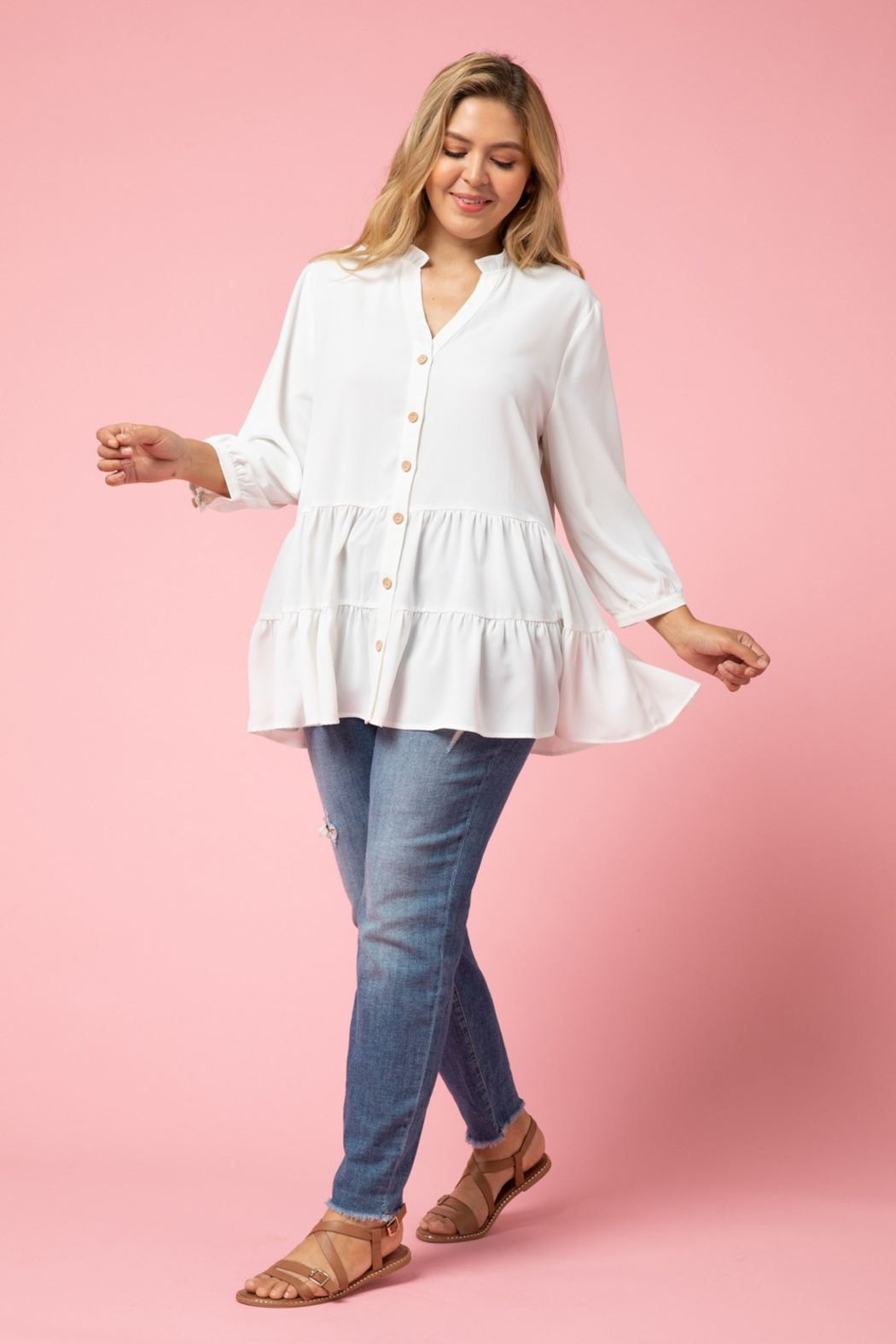 entro  Curvy Button Up Tiered Top - Main Image