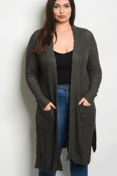 L Love Curvy Gray Cardigan - Product List Image