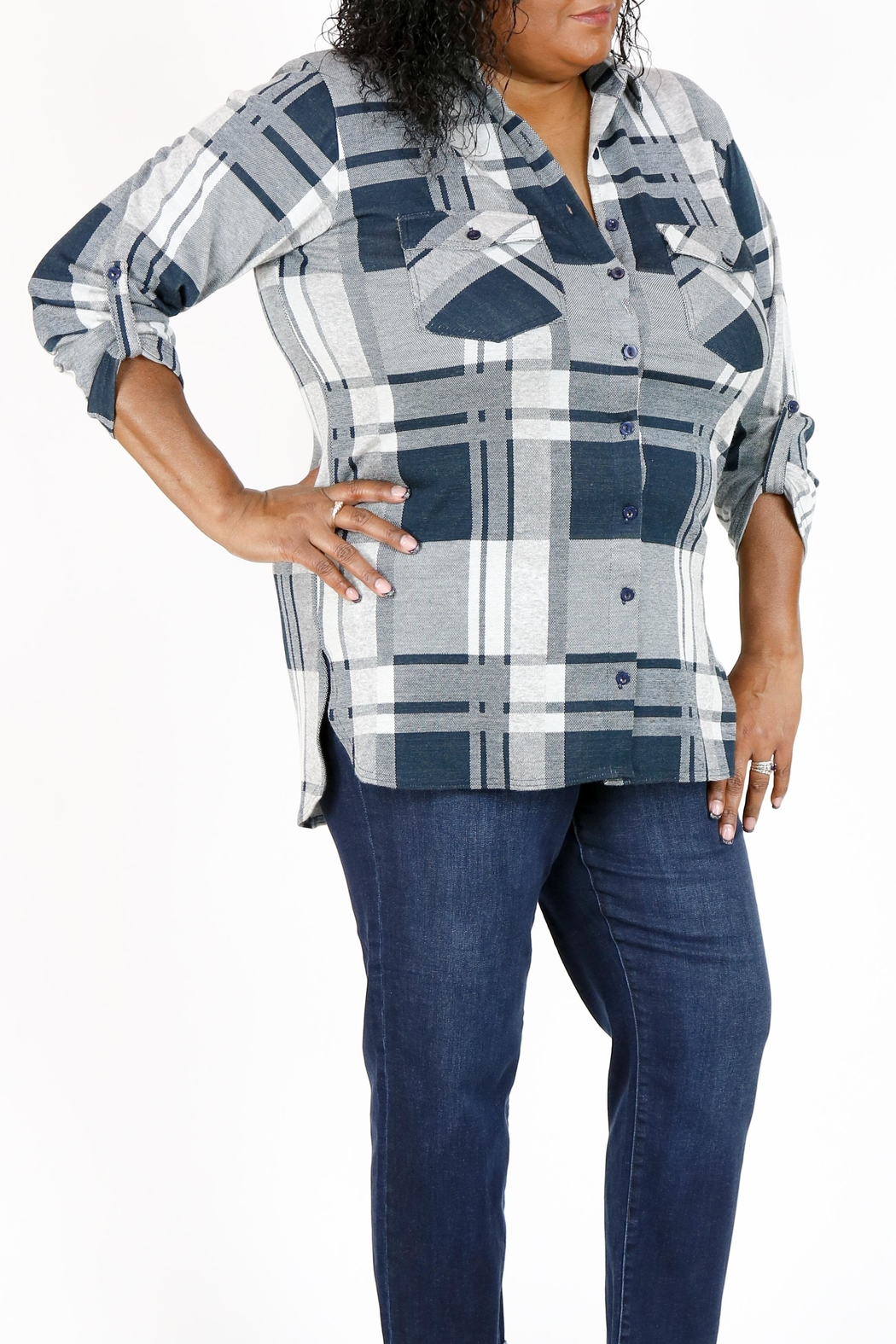 Curvy Fashion USA Plus-Size Plaid Shirt - Main Image