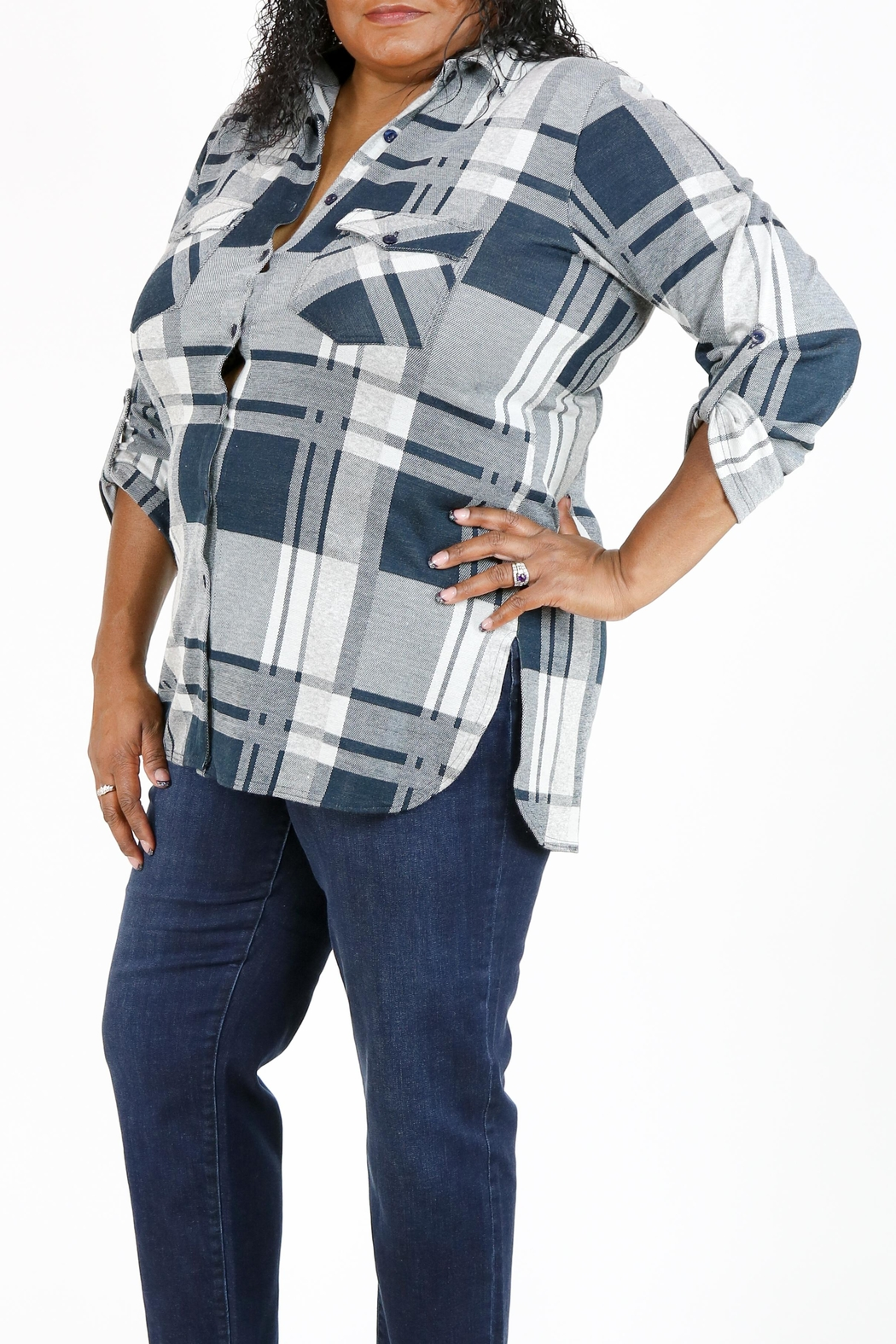 Curvy Fashion USA Plus-Size Plaid Shirt - Back Cropped Image