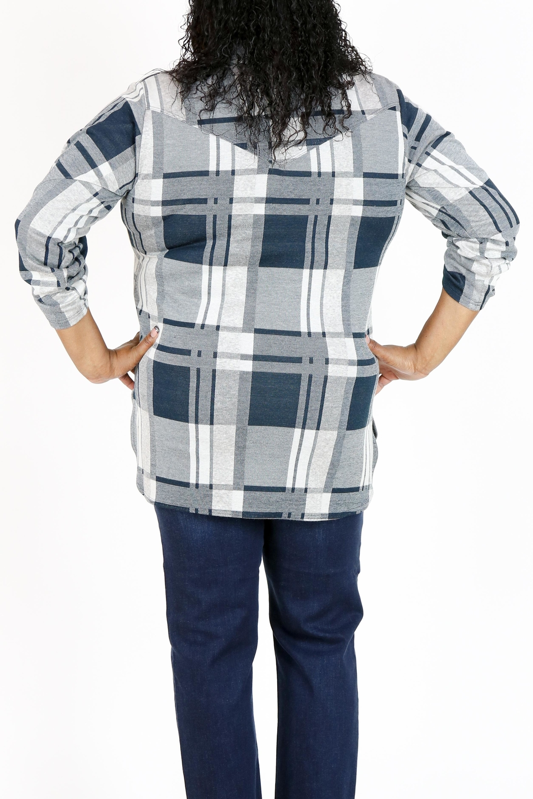 Curvy Fashion USA Plus-Size Plaid Shirt - Front Full Image