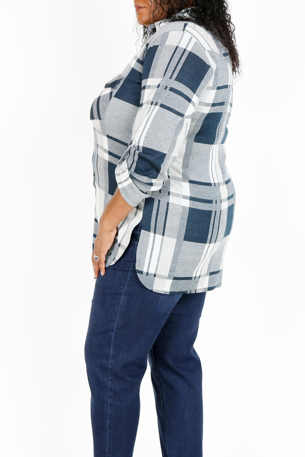 Curvy Fashion USA Plus-Size Plaid Shirt - Side Cropped Image