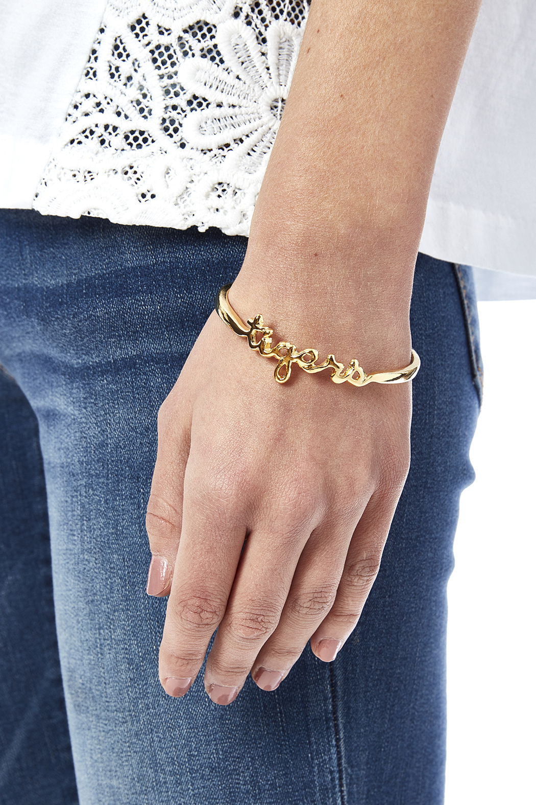 Sarah Ott Gold Tiger Love Bangle - Back Cropped Image