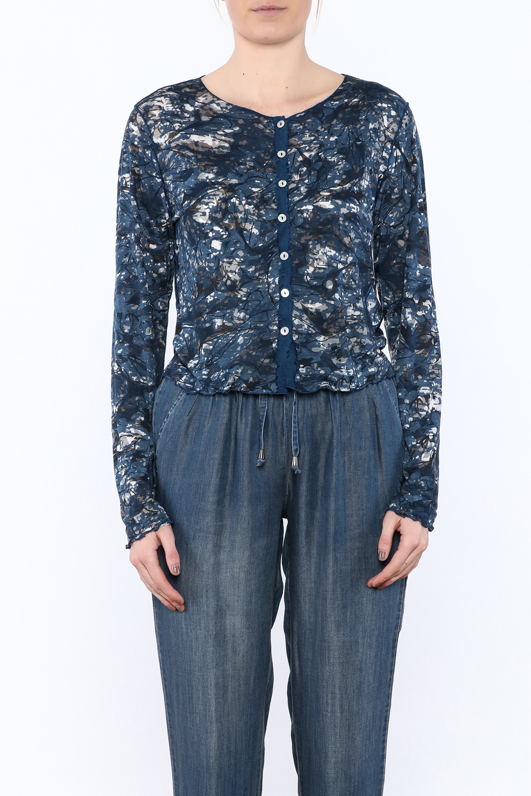 Cut Loose Navy Button Down Cardigan - Side Cropped Image